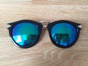 Blogger Sonnenbrille Gestell schwarz gold Glas blau grün verspiegelt