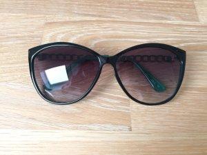 Blogger Sonnenbrille schwarz grün gold wie neu