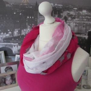 Blogger * %Summer SALE% Süßer Sommer Schal Tuch * weiß-pink-grau Sterne * NEU