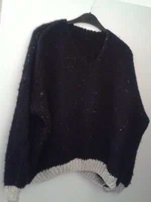 Pull de Noël noir-argenté laine angora