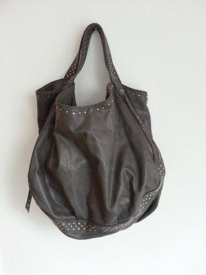 Blogger Tasche grau Nieten Silber Beuteltasche Beutel Fashion Minelli wie Zara
