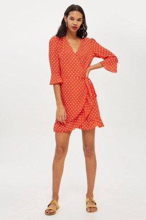 Blogger Topshop Mini-Wickelkleid mit Rüschen von Oh My Love Rot gepunktet Gr. 38 / M - NEU!