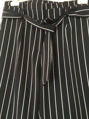 Batik Keris High Waist Trousers black-white mixture fibre