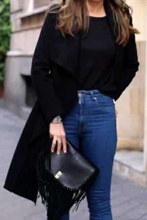 Blogger Wasserfall Winter Mantel schwarz vintage
