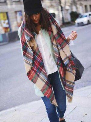 Blogger XXL Schal karo kariert plaid wolle weich zara style beige cardigan
