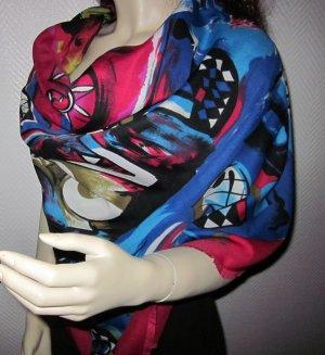 Blogger XXL Tuch Schal Halstuch h m Stola USA Fantasy 120x120cm bunt neuwertig