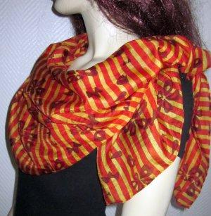 Blogger XXL Tuch Schal reine Seide h m braun orange gelb Streifen gestreift Blüten 105x105cm