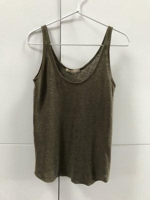 Blogger Zara Basic Top Tanktop aus Leinenjersey Grün Khaki Gr. 36 / S - nur einmal getragen 100% neuwertig!