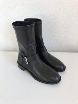 Blogger ZARA Biker Boots Stiefeletten mit elastischem Schaft Echtleder Gr. 39 - nur einmal getragen!