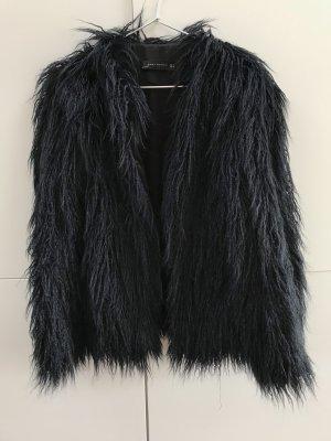 Blogger Zara Faux Fur Kunstfell Jacke Dunkelblau Gr. 36 / S - NEU und ungetragen!