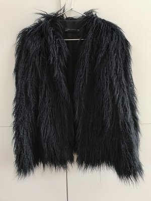 Zara Fake Fur Jacket dark blue