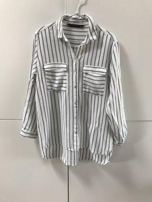 Zara Chemise à manches longues blanc-gris ardoise