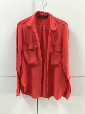 Blogger ZARA Hemd Bluse mit goldenen Knöpfen Rot Gr. 36 / S - sehr guter Zustand!