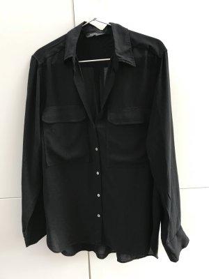 Blogger ZARA Hemd Bluse mit Taschen Schwarz Gr. 36 / S - nur einmal getragen!