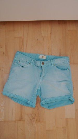 Blogger Zara Highwaist summer Shorts destroyed Look türkis Festival Hippie