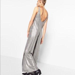 Blogger ZARA Ibiza Jumpsuit Einteiler Silber mit Rückenausschnitt Gr. 36 / S - NEU und ungetragen!