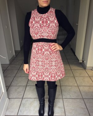 Blogger Zara Jaquard Kleid M 38 rot weiss * Kleid * stiefel *