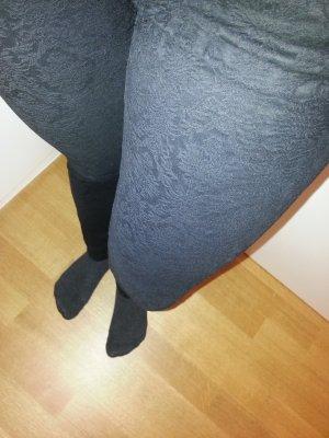 Blogger Zara Jeans Jacquard Muster Floral schwarz 34 XS wie neu!