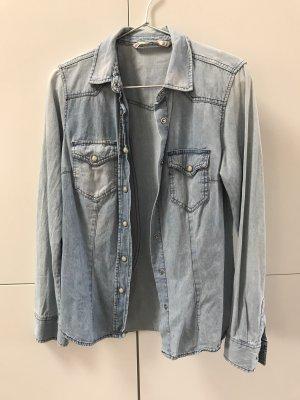Zara Chemise en jean bleu azur
