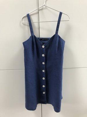 Blogger ZARA Kleid Leinenkleid mit Knöpfen Leinen Blau Gr. 36 / S - nur einmal getragen!