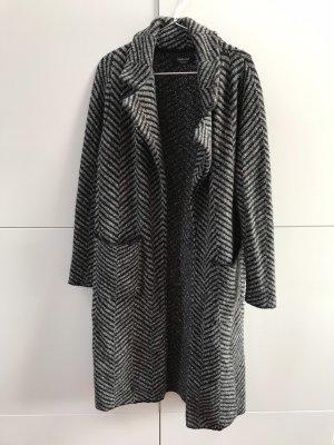 Blogger Zara langer Wollmantel Schwarz Grau mit Muster Gr. 36 - nur einmal getragen!