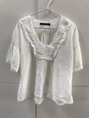 Blogger ZARA Leichte Bluse T-Shirt mit Spitze Lochstickerei Weiß Gr. 34 / XS - nur einmal getragen!