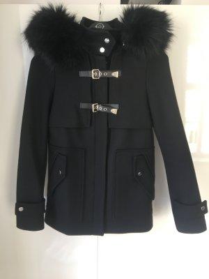 Zara Woman Jas van imitatiebont zwart-goud Viscose