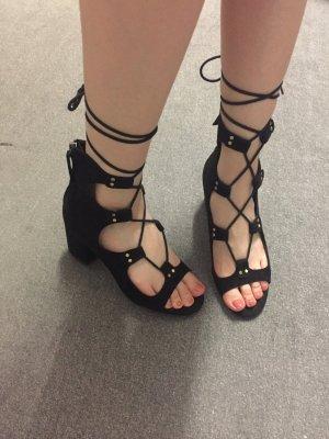 Zara High-Heeled Sandals black-gold-colored