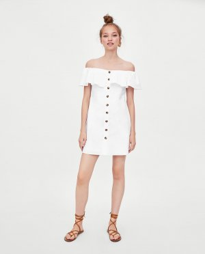 Zara Vestido strapless blanco Algodón