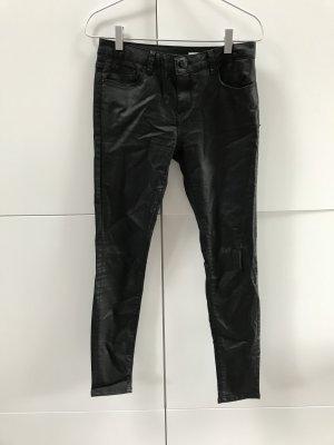Blogger Zara Skinny Jeans Hose Coated mit gewachster Optik Schwarz Gr. 34 / XS - nur einmal getragen!