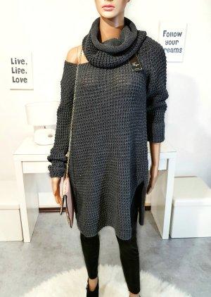 Bloggerstyle Longpulli / Pulloverkleid mit Schal  Einheitsgr.
