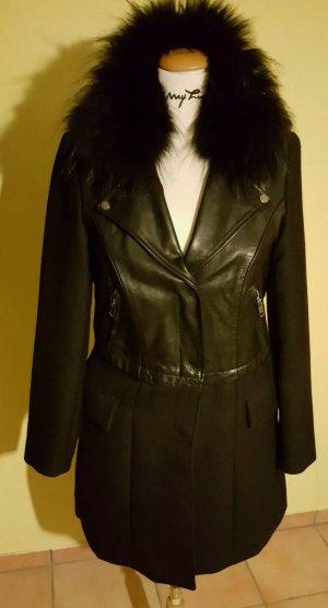 Blonde no 8 Mantel mit Leder und Echtfell Kragen Schwarz Gr. 40