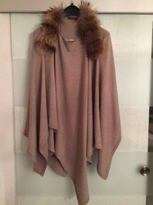 Blonde no. 8 poncho#pullover#cape Gr. S/M/L beige/braun fellkragen