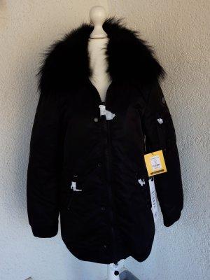 Blonde No8 Winterjacke mit XXL Echtfellbesatz schwarz Gr.XS/34 neu