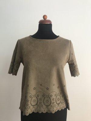 Bloom Blusa de manga corta marrón grisáceo-marrón claro