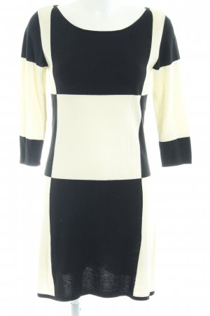 Bloom Knitted Dress black-cream check pattern elegant