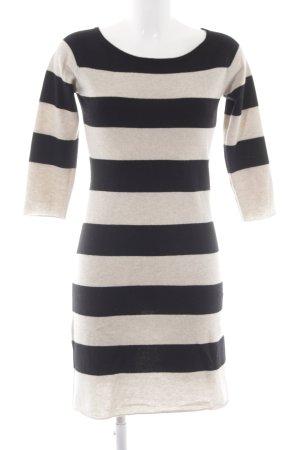 Bloom Vestido tejido negro-beige claro estampado a rayas look casual