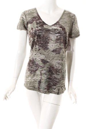 Bloom T-Shirt graugrün-dunkelbraun Farbtupfermuster Casual-Look