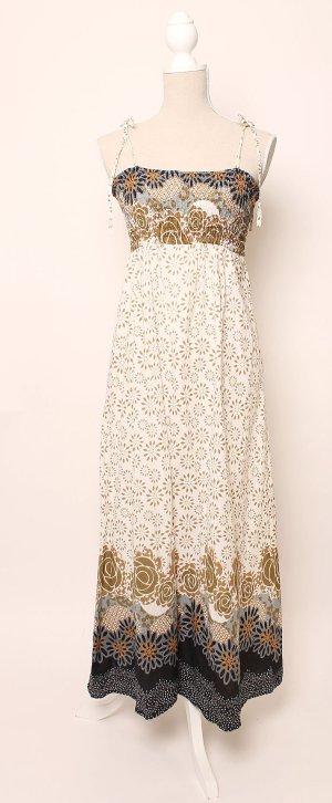Bloomingville Maxikleid Kleid Blumen geblümt floral Braun Weiß Blau M 38 wie Noa * Hippie Boho