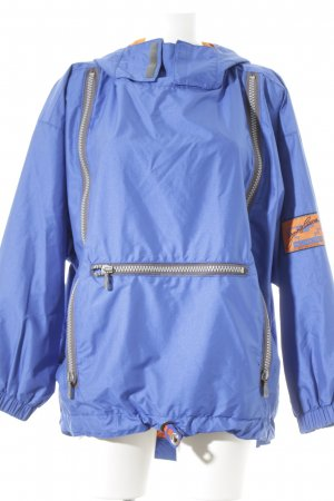Blouson blau-neonorange Motivdruck sportlicher Stil