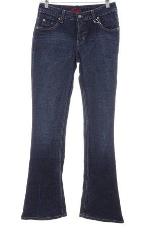 Blue Cult Jeansschlaghose dunkelblau-graublau Webmuster Casual-Look