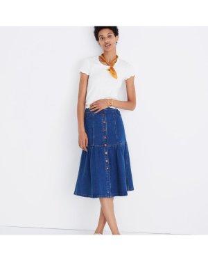 Blue Denim Bayview Tiered Midi Skirt