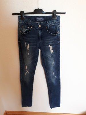 Jeans a gamba dritta blu acciaio Cotone