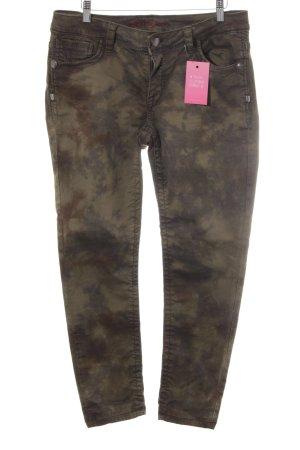 Blue Fire 7/8 Jeans olivgrün-dunkelgrün Batikmuster Casual-Look
