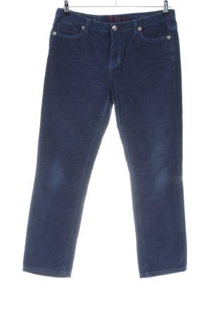 Blue Fire Pantalone di velluto a coste blu stile casual