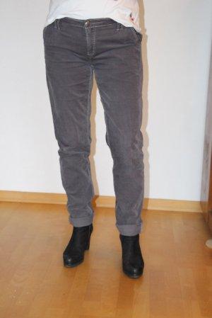 Blue Fire Pantalone di velluto a coste grigio Tessuto misto