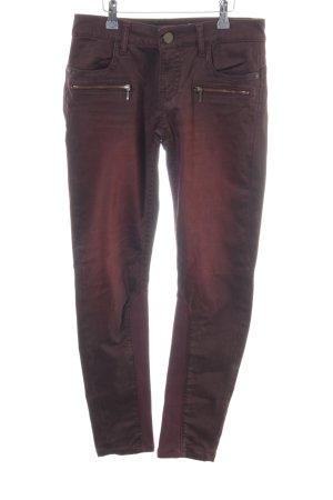 Blue Fire Pantalon cigarette brun-rouge style décontracté