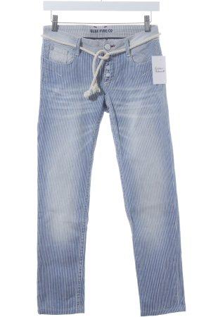 Blue Fire Skinny Jeans weiß-blau Streifenmuster Marine-Look
