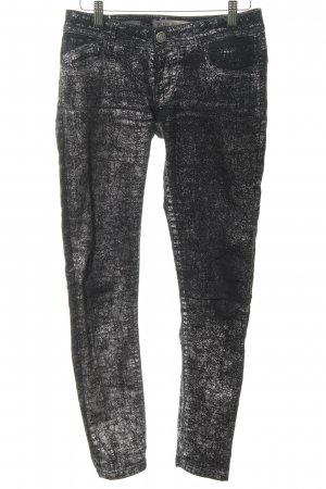 Blue Fire Straight-Leg Jeans schwarz-silberfarben abstraktes Muster Casual-Look