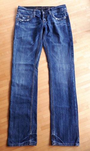 Low Rise Jeans dark blue cotton